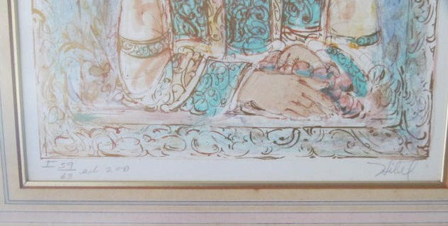 1980's Vintage & Rare Edna Hibel Color Lithographic Collectible Oriental Asian A