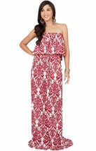 KOH KOH Womens Long Strapless Sexy Tube Cute Demask Print Summer Gown Ma... - $35.63+