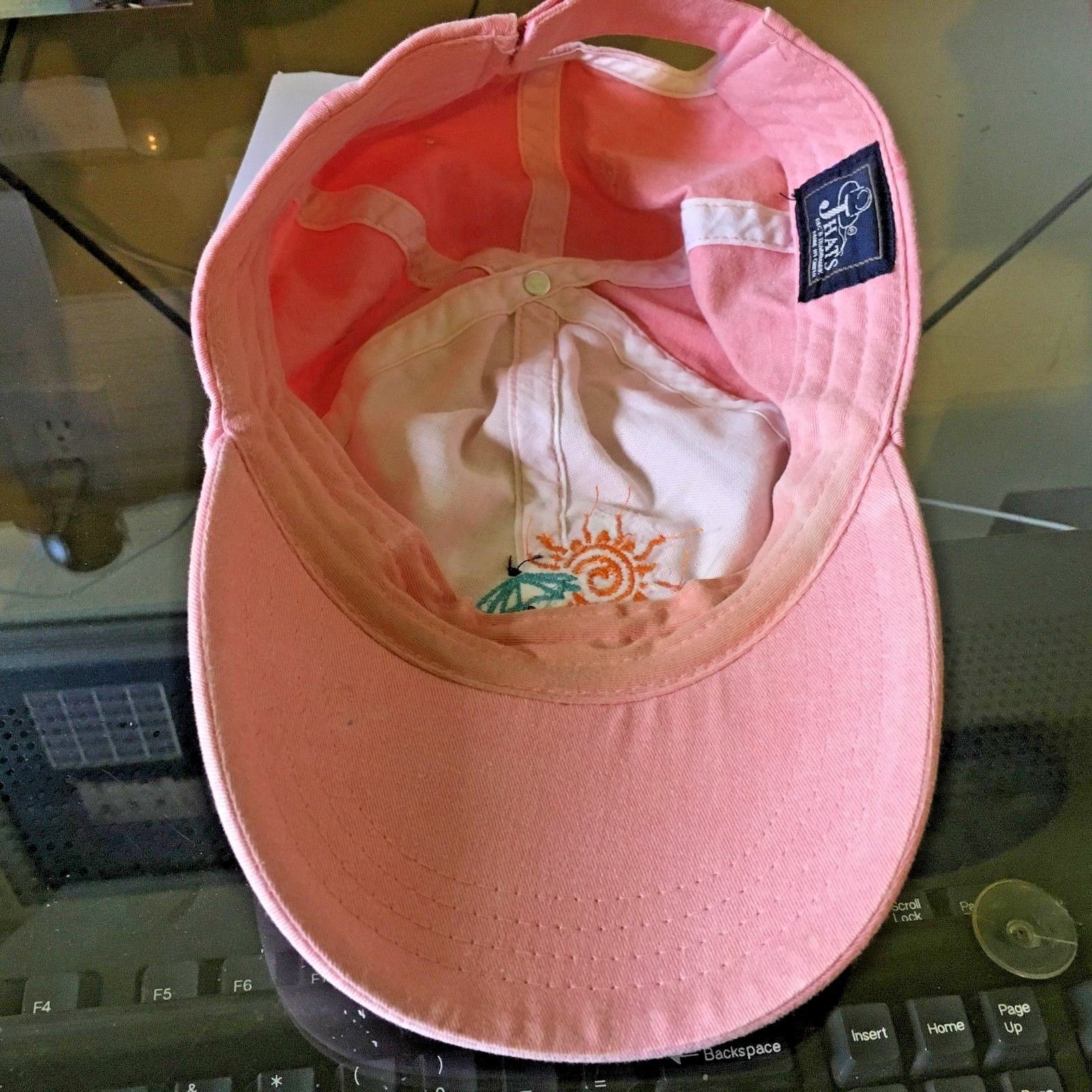 Key West Pink adjustable Cap by Jhats Coral Sun Umbrella on the Beach