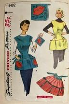 Vtg 1953 Sewing Pattern Simplicity #4492 Misses Bib Cobbler Apron + Tran... - $13.64