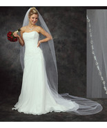 Austrian Crystal Edge Bridal Cathedral Wedding Veil White Ivory DW - $177.95
