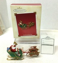 2003 Hallmark Santa on His Way Moves Christmas Tree Ornament MIB w Price... - $24.26
