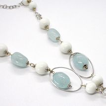 SILVER 925 NECKLACE, SPHERES AGATE WHITE, AQUAMARINE DROP, PENDANT, OVALS image 4