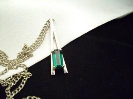 AVON Emerald GREEN Baguette Cut Rhinestone Pendant Necklace PARK EAST Vintage  image 2