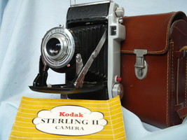 Kodak Sterling II Kodak Vintage Folding Camera Cased Inst - Nice-  - $50.00