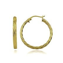Hoops & Loops Sterling Silver 3mm Twist Design Polished (25mm-Yellow Flash) - $25.41