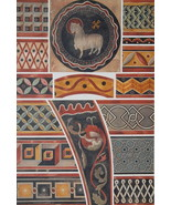 CHURCH PAINTINGS 13th C Ornaments White Horse Bird - 1888 COLOR Litho Print - $21.60