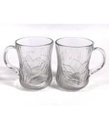 Lot of 2 Arcoroc Canterbury Crocus Clear Glass Mugs Cups Coffee Tea Embo... - $8.81