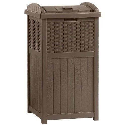 Outdoor Trash Hideaway Resin Wicker Garden Patio Garbage