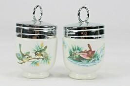 2 Vintage Royal Worcester EGG CODDLER Porcelain BIRDS WRENS & FINCHES - $19.26
