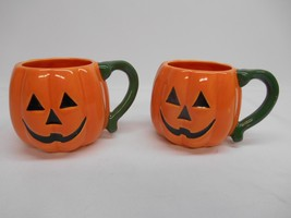Old Vtg HALLOWEEN PUMPKIN COFFEE CUP MUG SET 2 Jack-O-Lantern Decor Spooky - $29.69