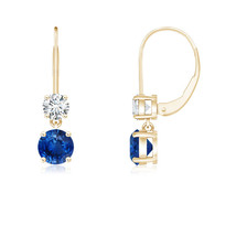 Blue Sapphire Leverback Dangle Earrings with Di... - $904.82 - $1,296.75