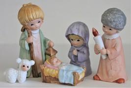 Vintage Homco #5802 Nativity Scene 5 Pieces Bisque Ceramic Children - $20.00