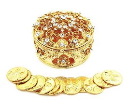 JOICE Gold Metal Round Rhinestone Wedding Arras Box Set with Unity Coins - $27.42