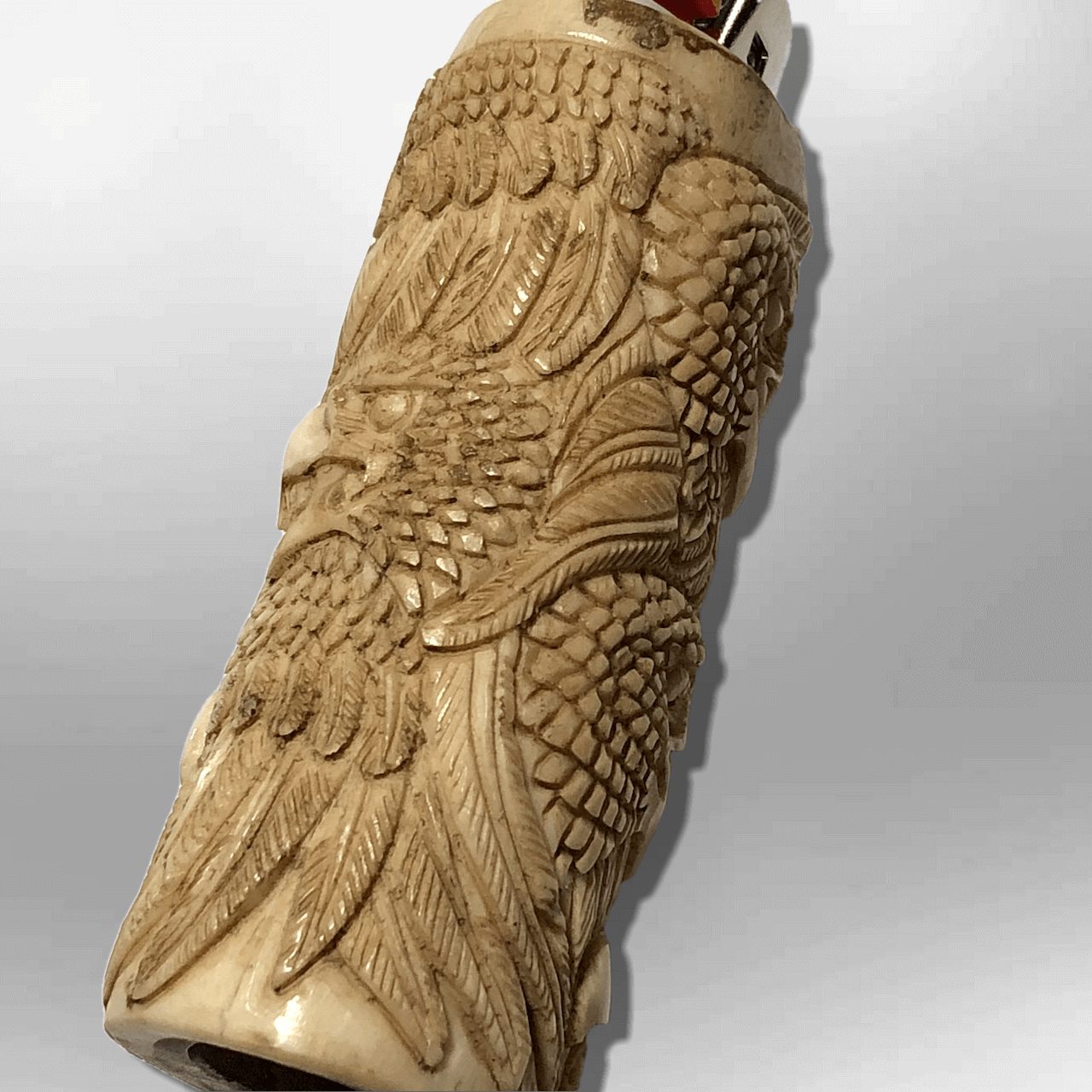 Bone Carved Handmade Eagle Head with Feathers Large Bic No Paint Detailed Lighte image 4