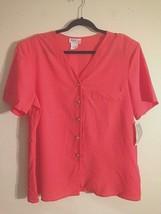 Lauren Lee Woman Blouse 20W Button Down Semi Sheer Crepe Shirt USA Made ... - $13.61