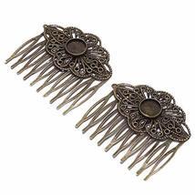 2 Pcs Retro Carved Flower Bronze Hair Combs Decorative Mini Side Combs DIY Brida