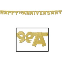 Happy Anniversary Jointed gold Banner -6 Ft - 1 Piece - $3.65