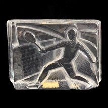 Vintage 1982 Vinardi Crystal Paperweight Tennis Player Frosted Glass Signed - £37.47 GBP