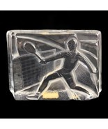 Vintage 1982 Vinardi Crystal Paperweight Tennis Player Frosted Glass Signed - $51.11
