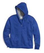 Champion Powerblend Blue Full Zip Authentic Fleece Hoodie Sweatshirt Adu... - $39.59