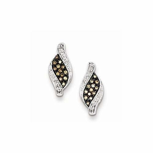 Primary image for Sterling Silver Champagne Diamond Marquise Post Earrings