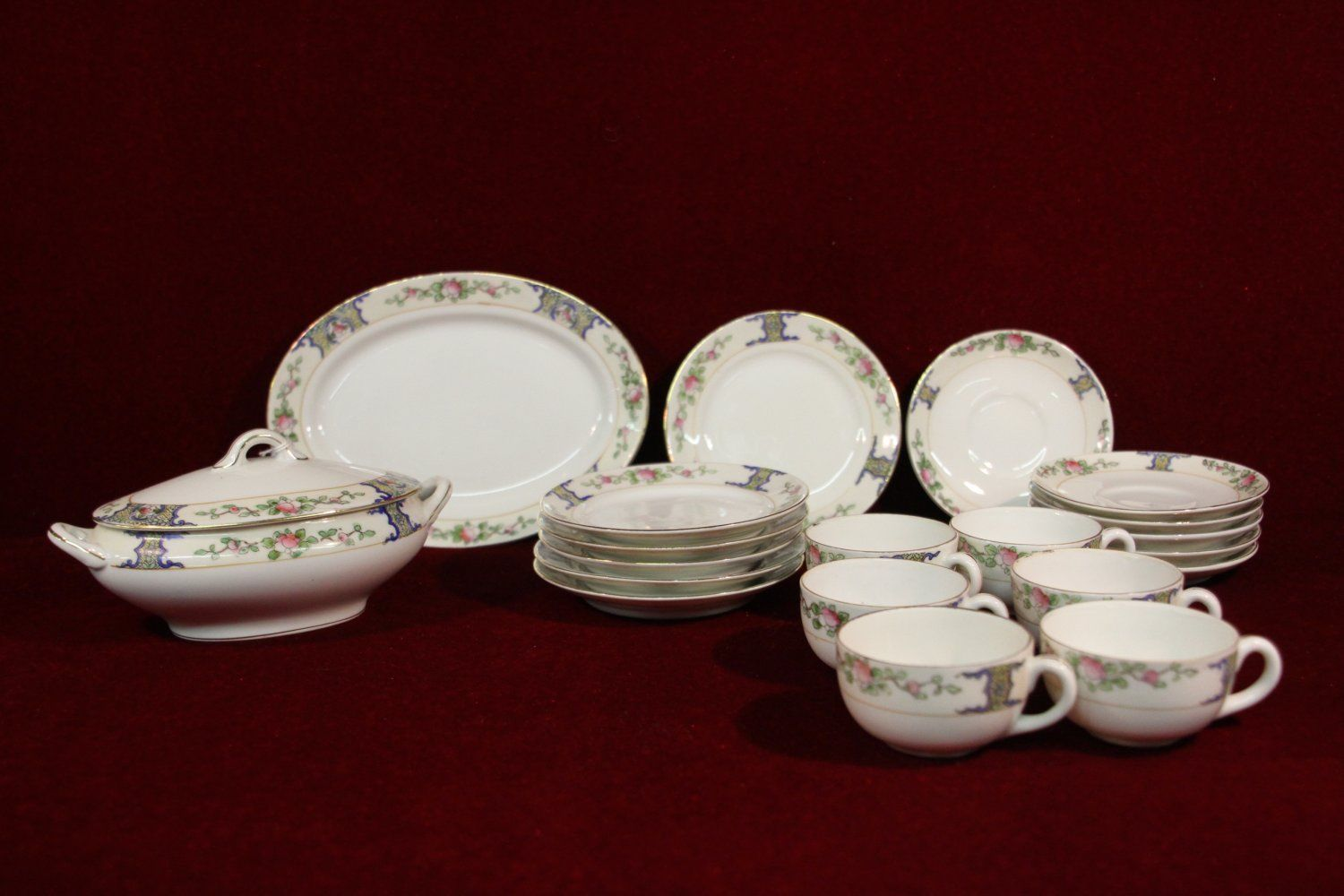 Nippon China Set Floral Pattern Gold Trim 21 and 50 similar items