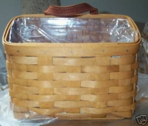 Longaberger Small Wall Pocket Basket Indigo Blue Fabric Over Edge Liner Only