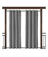 TWOPAGES Outdoor Curtain Antique Bronze Grommet Waterproof DrapeBoth Top... - £42.13 GBP
