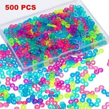 500 Pieces S Clips Rubber Band Clips Plastic Connectors Refills Kit Clip for Loo