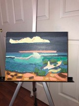 Ocean wave handcrafted acrylic on canvas painting - $25.00