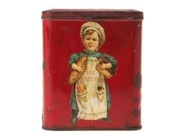Vintage Red Tin - Unusual Sweet Decoupage Small Metal Box - $23.38