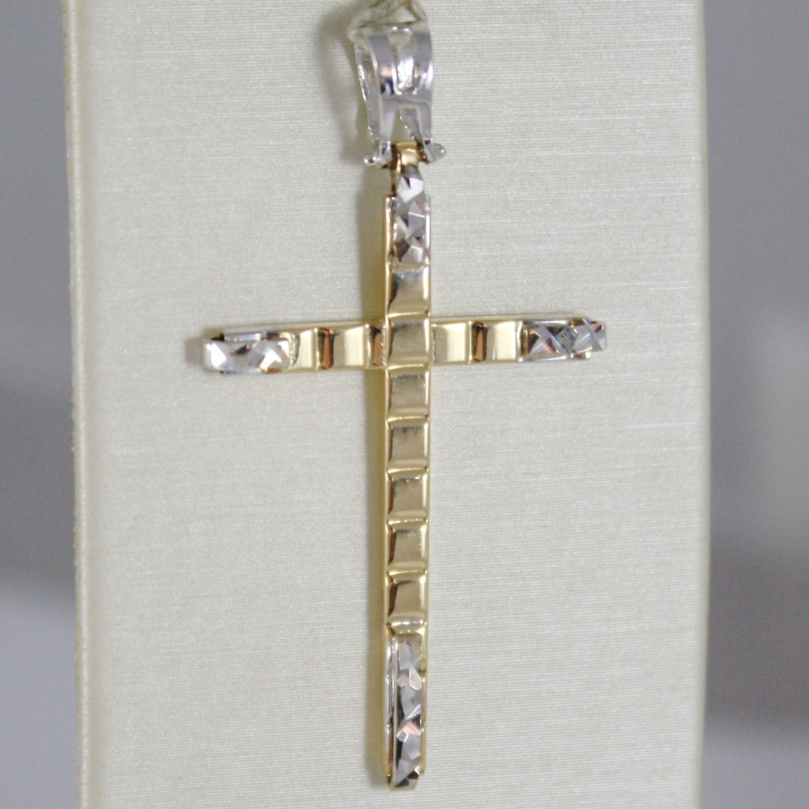 18K WHITE AND YELLOW GOLD CROSS STYLIZED VERY LUSTER MADE IN ITALY 1.65 INCHES
