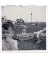 Little Boy Pushing His Nose & Sister Being Crazy In Kiddy Pool Boat Phot... - $6.99