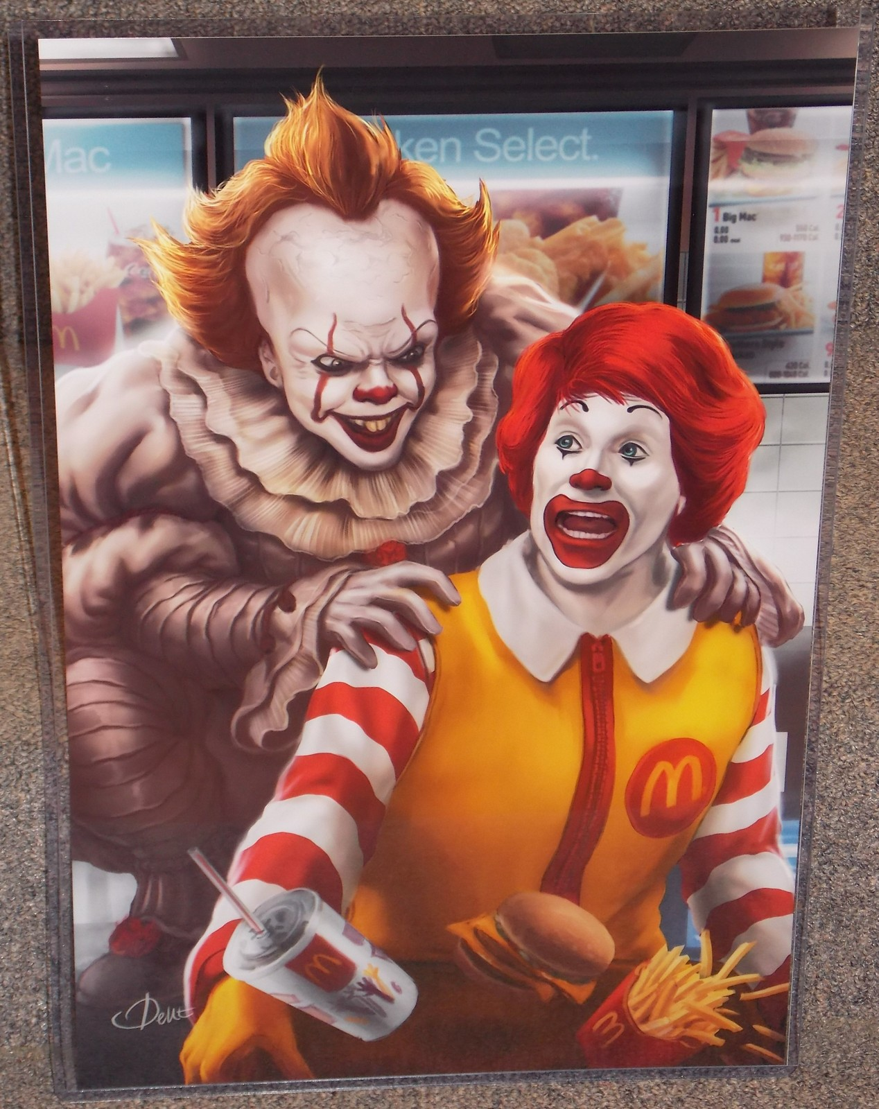 Primary image for IT Pennywise vs Ronald McDonald Glossy Art Print 11 x 17 In Hard Plastic Sleeve