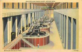 Linen Postcard NV C128 Hoover Boulder Dam Power House Nevada Wing AZ Can... - $6.50