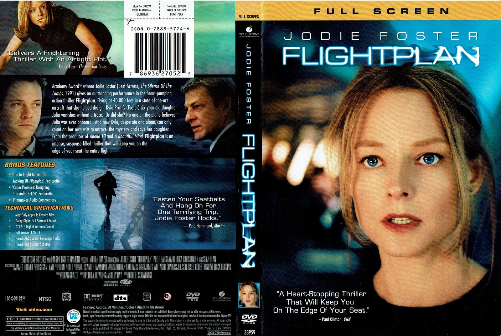 Flightplan, 2006, Staring Jodie Foster (DVD, Full Screen Edition)