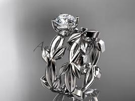 unique platinum leaf and vine wedding set ADLR522S - $1,850.00