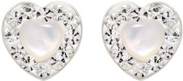 Glowing Heart Mother Of Pearl Crystal Frame .925 Sterling Silver Earings - $51.97