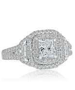 1.47 Ct Halo Radiant Cut Cadillac Side Diamond Engagement Ring 14k White... - $2,898.99
