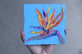Bird of paradise painting original oil 5 by 5 inch. Colorful floral pain... - $27.00