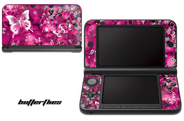 Skin Decal Wrap for Nintendo 3DS XL Gaming Handheld Sticker 12-15 BUTTERFLY PINK - $13.81