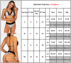 Womens Sexy Black And White Polka Dot Printed Push Up Bikini Set Swimsuit image 2
