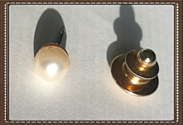 VTG14K BuyGOLD~White PEARL TIE TACK PIN (or EARRING?) (6.75mm) - $64.35