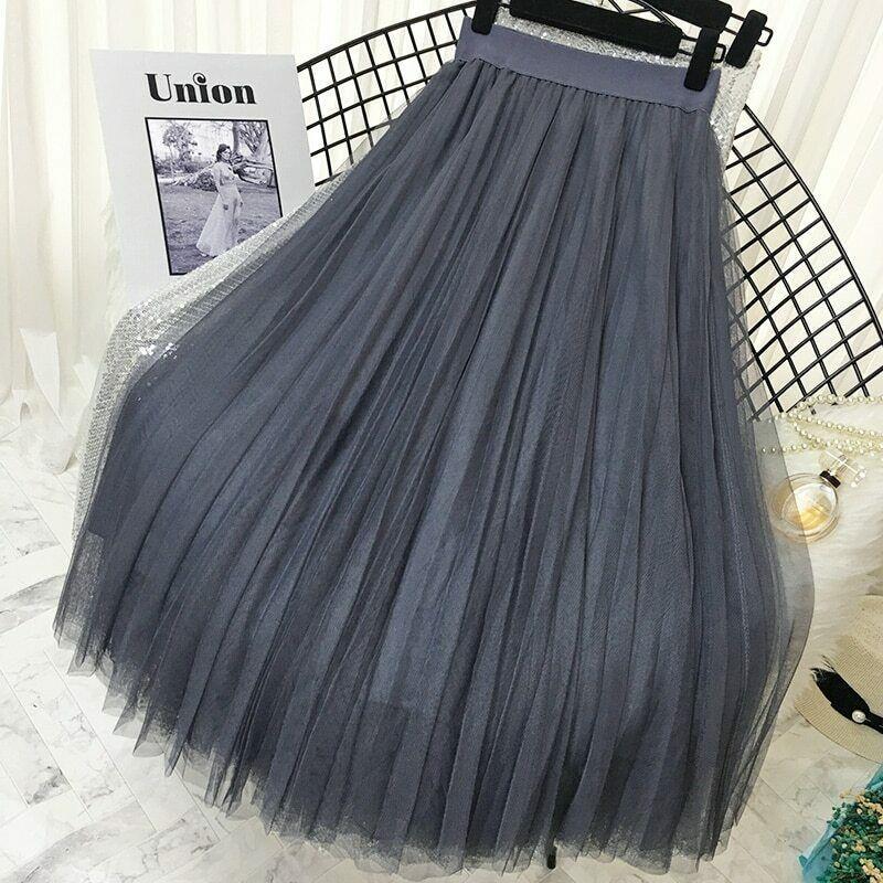2019 Spring Summer Vintage Skirts Womens Elastic High Waist Tulle Mesh Skirt image 3