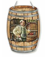 "Wine Barrel Sun Catcher AMIA 7""x5"" Hand Painted Glass New Spain Vion Fio... - $27.71"