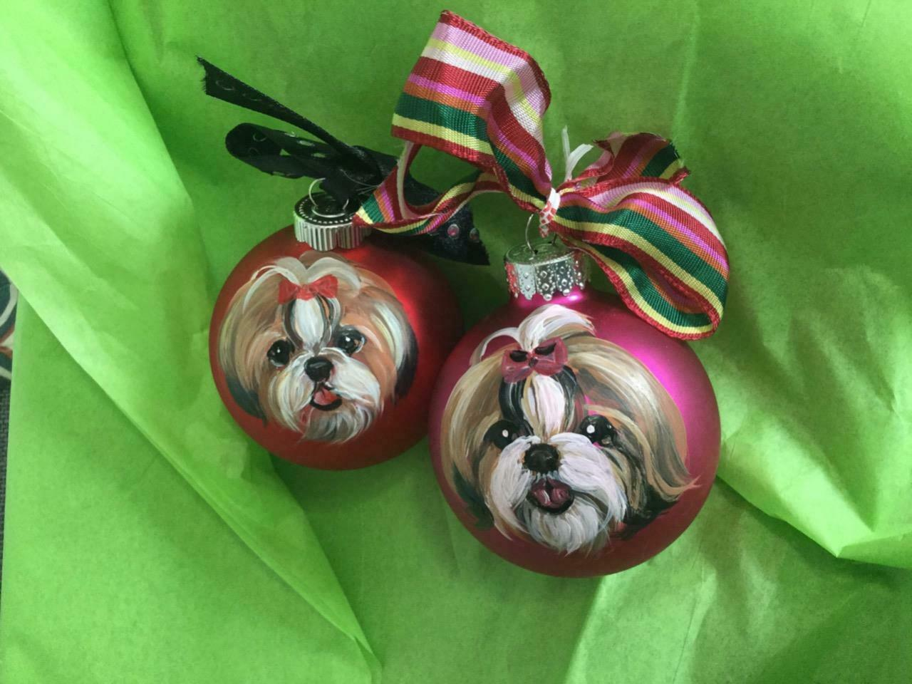 Primary image for TWO SHIH TZU HAND PAINTED GLASS CHRISTMAS ORNAMENTS