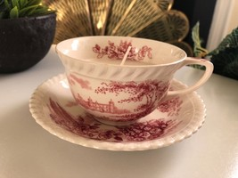 Johnsons Brothers Transerwise Chinoiserie Cup Saucer Set Vintage Candle - $19.75