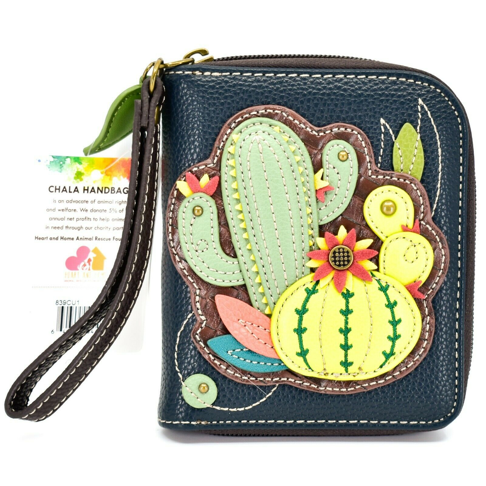 Chala Handbags Faux Leather Cactus Cacti  Zip Around Wristlet Wallet
