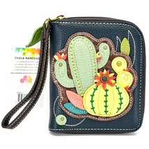 Chala Handbags Faux Leather Cactus Cacti  Zip Around Wristlet Wallet